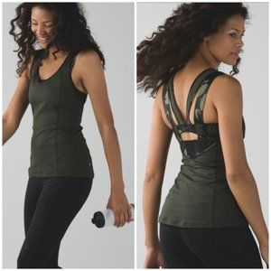 NWT Lululemon olive green tank top with bra 2
